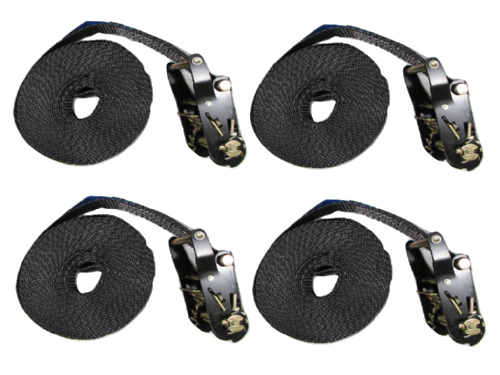 25MM Black Ratchet Straps 8M Endless Lashing x4 - 1.5 Ton Tie Down Trailer Cargo Truck